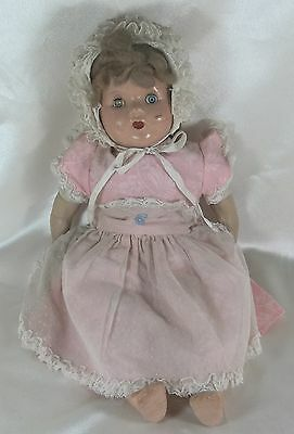 "Antique Collectible Composition Doll 18"" Mohair Wig Un-marked"