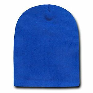 Royal 8 Inch Short Knit Beanie Winter Ski Cap Caps Hat Hats Toque Toques