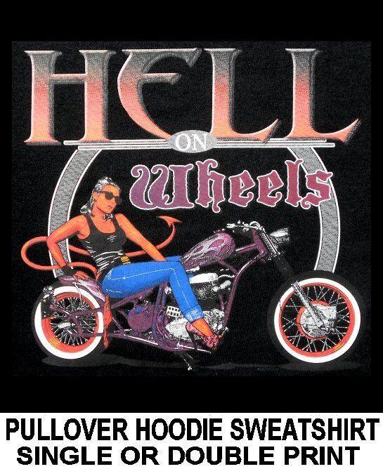 HELL ON BOBBER WHEELS DEVIL PIN-UP GIRL CHOPPER BOBBER ON BIKER HOODIE SWEATSHIRT WS623 5ed316