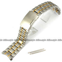 New Lug Width 18~24mm Two Tone Stainless Steel Band Brushed Bracelet Watch Strap
