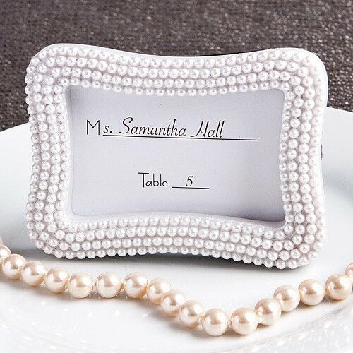80 Pretty Pearl Place Card Photo Frame Wedding Bridal Baby Shower Party Favors