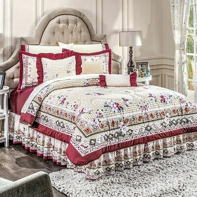 Persa Burgundy w// Beige Floral Reversible Comforter Set with Sheet Set Included