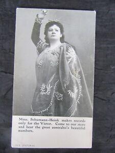 Antique-1914-Schumann-Heink-Victor-Advertising-Postcard-Bratton-039-s-Music-Store