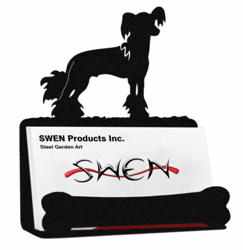 SWEN Products CHINESE CRESTED Dog Black Metal Business Card Holder