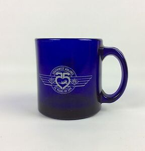 Southwest-Airlines-Coffee-Mug-25-Years-Of-Luv-1971-To-1996-Cobalt-Blue-Glass