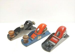 Lot-Of-3-VTG-STANLEY-Wood-Planes-Stanley-220-Stanley-Handyman-Stanley-Thumb