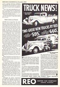 1935 REO Speed Wagon Pickup & Stake Body Truck Art vintage