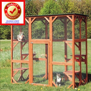 Wooden Outdoor Cat House Small Animal Pen Cage Dog Cat