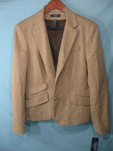 NWT Chaps by Ralph Lauren Tan Herringbone Women/'s Blazer