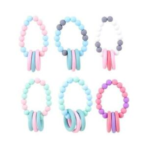 Silicone Chew Biting Bracelet Baby Teething Teether Bangle Chewy Beads shan