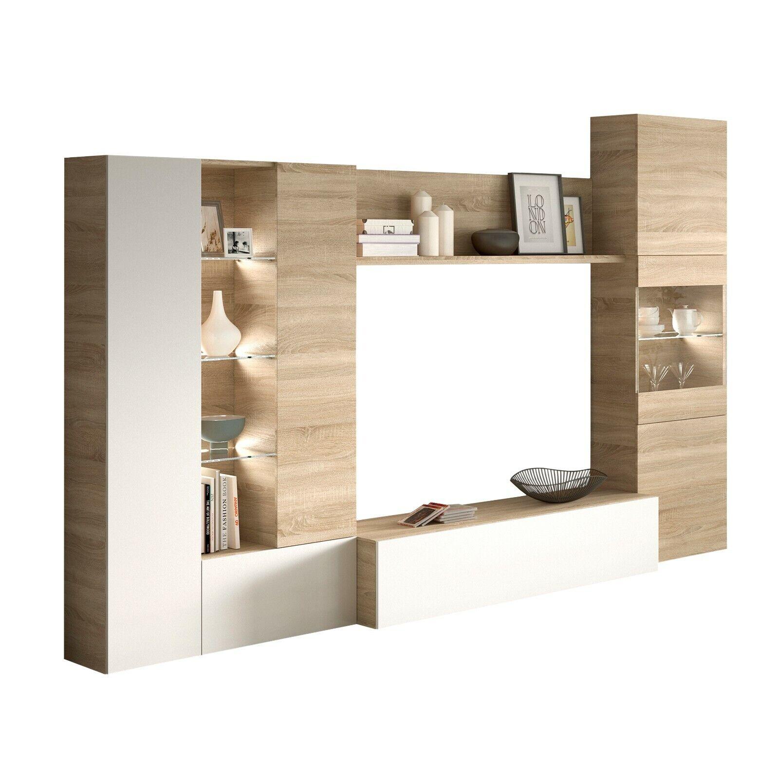 Mueble de comedor, modulo moderno para salon con LEDs, Blanco y Roble...