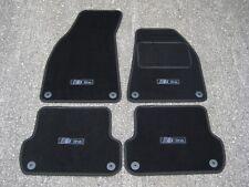 Black Edition Car Mats to fit Audi A4 B6/B7 (01-08) + Carbon S-Line Logos (x4)