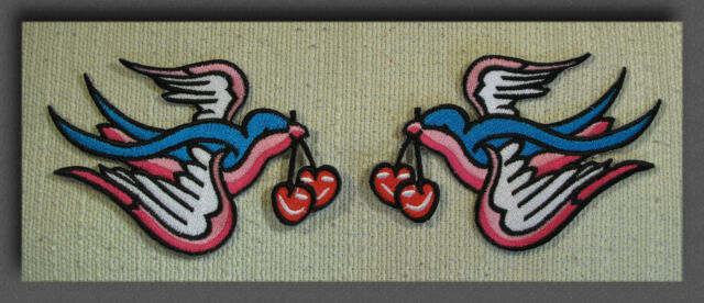 PAIR PINK TATTOO SWALLOWS & CHERRY Kitsch Ink Iron Sew On Patch