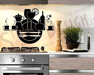 Wall Stickers Adesivi Murali Cucina Piatti Posate Tazzina Bicchiere The Adesivo