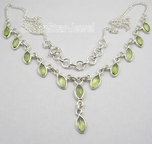 925-Sterling-Silver-MARQUISE-PERIDOT-Gemstones-Curb-Chain-Necklace-17-9-034