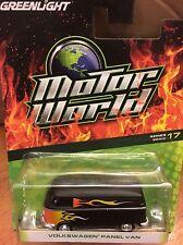 Greenlight MOTOR WORLD  Series 17  Volkswagen Panel Van.  black w/ flames
