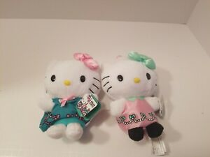 Lot-Of-2-Hello-Kitty-7-034-Plush-Dolls-Holiday-Dresses-New-With-Tags-RARE