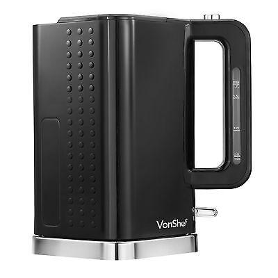 VonShef 3000W 1.7 Litre Black & Chrome Cordless Electric Rapid Boil Jug Kettle