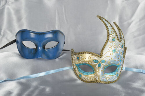 Turquoise Cigno Fiore Colour Gold Trim His and Hers Masks