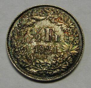 1921 Switzerland 1/2 Silver Franc Grading Superb Gem BU Rainbow Toned Beauty  j1