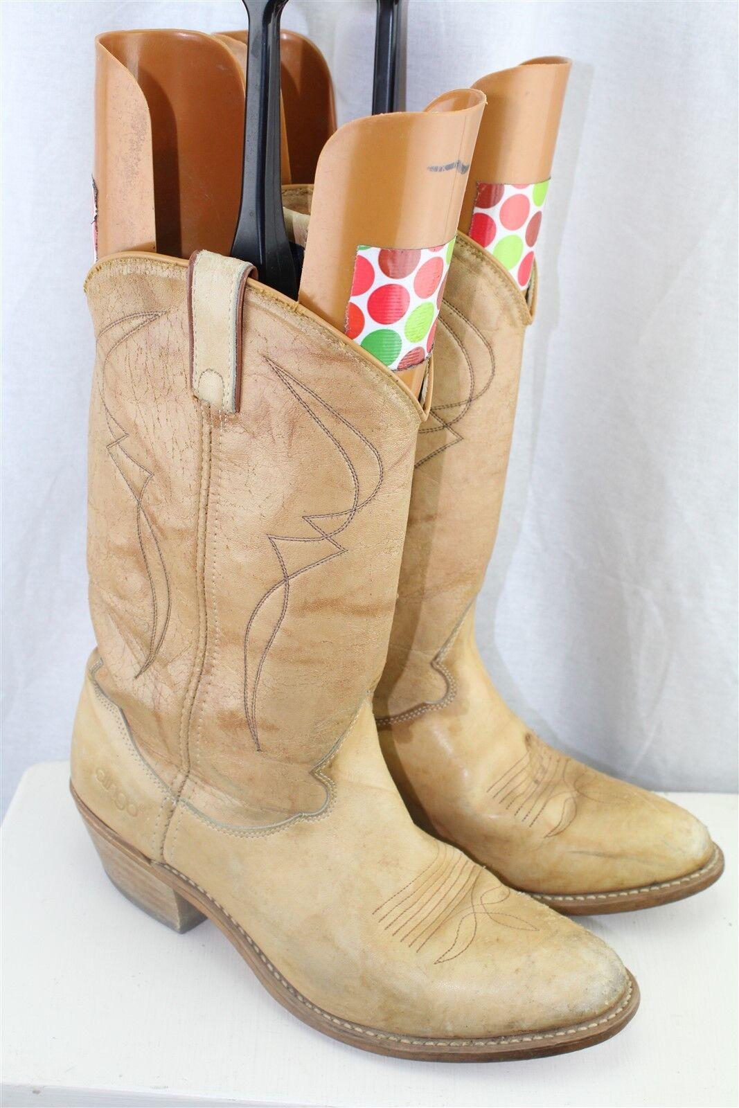 Acme Vintage Tan Leather 9.5 D Men's shoes Western Boots