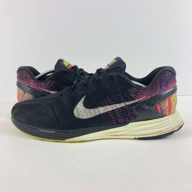 new arrival 830d5 82794 Nike Mens 12 Lunarglide 7 Black Yellow Crimson Running Sneakers Shoes  Lunarlon