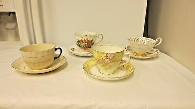 Lot 4 Made in England Older Various Cups/Saucers:Fondeville,Sampson,Queen Anne+