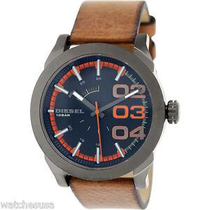 9745500e57e3 Diesel Mens Black and Orange Dial Brown Leather Strap Quartz Watch ...