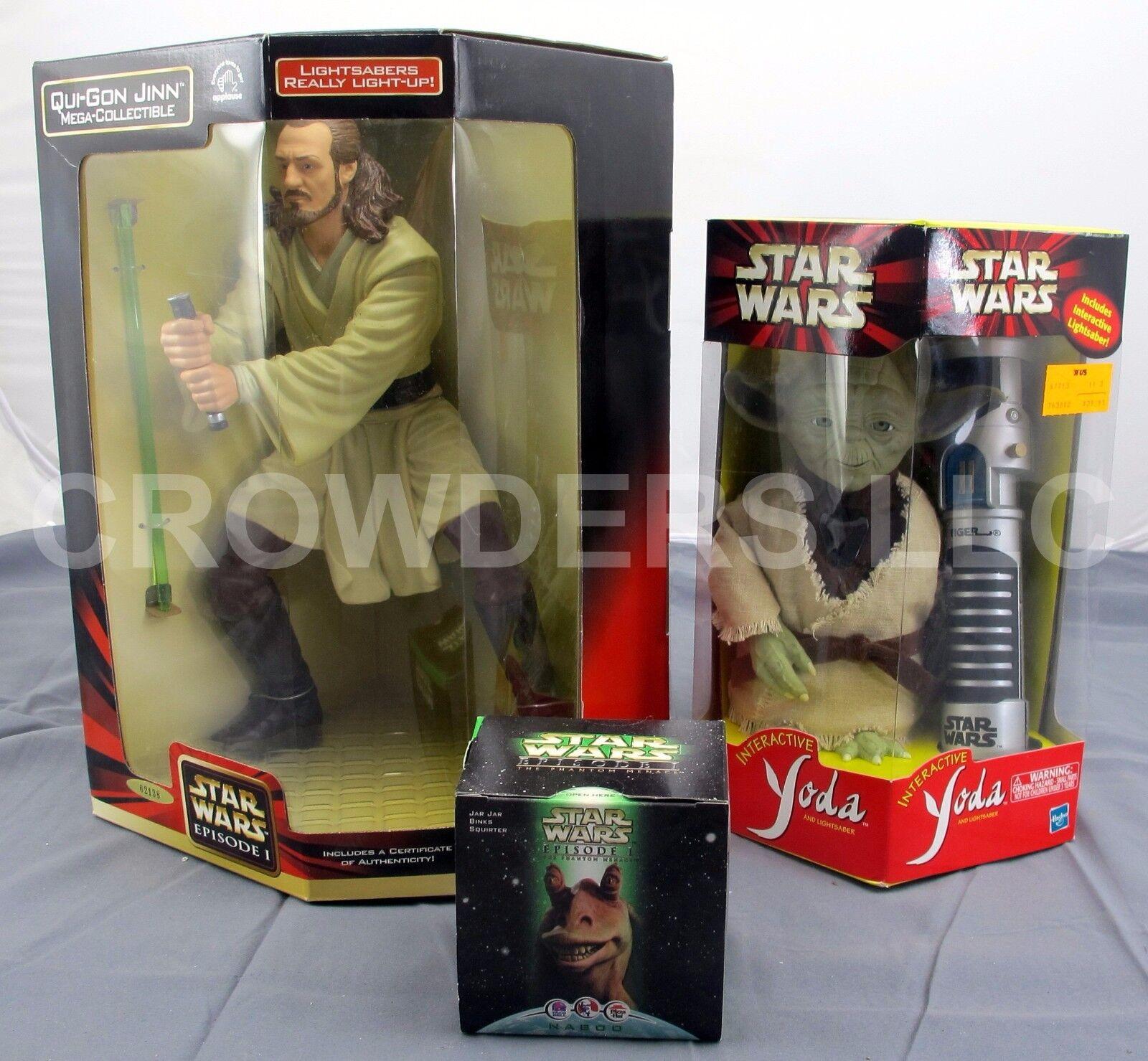 Star Wars Interactive Yoda Qui Gon Jinn Mega Collectible & Jar Jar Squirter 1999