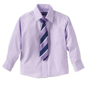 NWT $30 Chaps Boys Long Sleeve Light Purple Dress Shirt & Tie Set ...