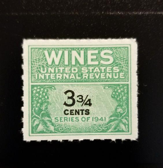 1942 3 3/4c U.S. Internal Revenue, Cordial & Wine, Gree