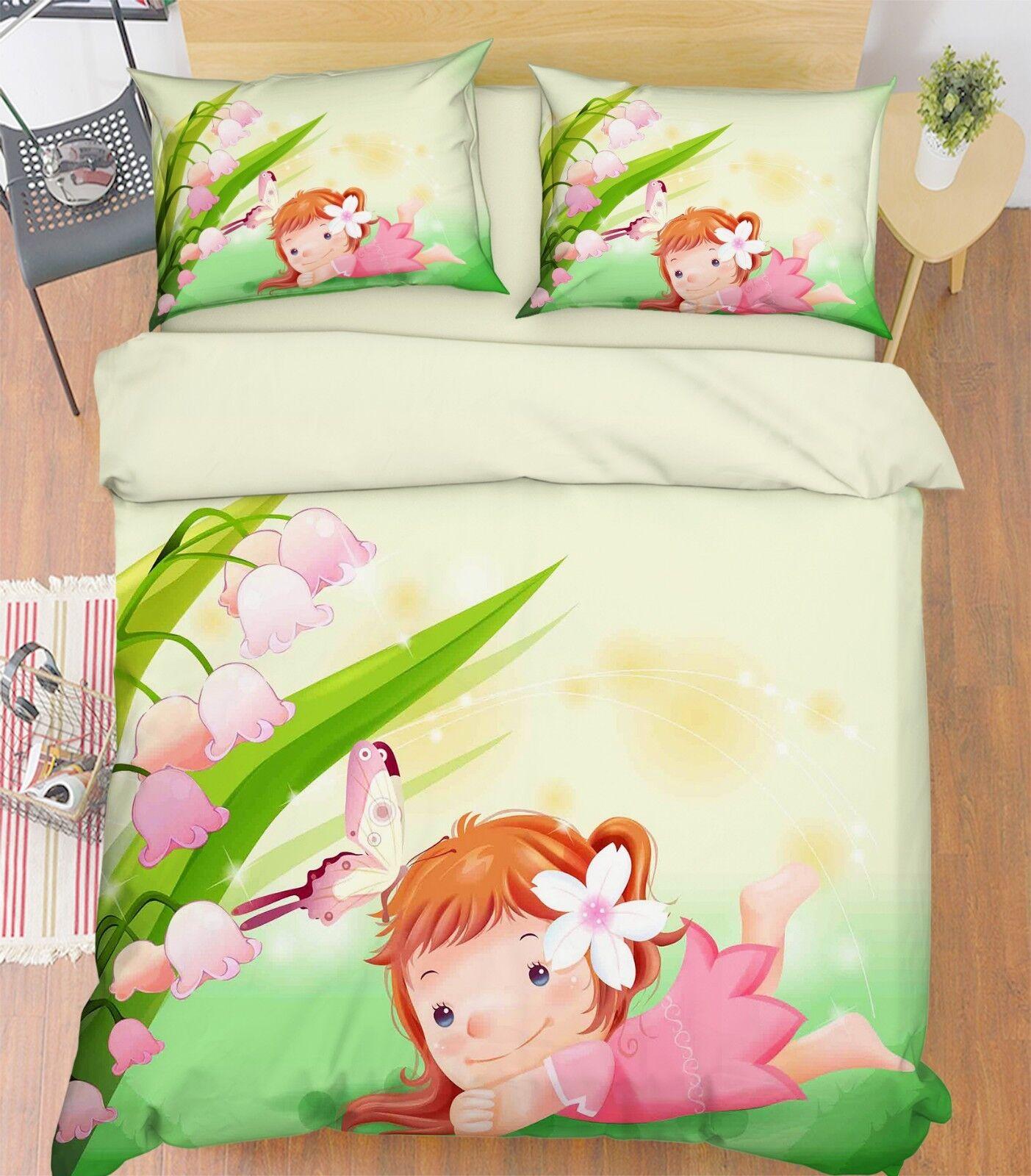 3D Flower Girl 656 Bed Pillowcases Quilt Duvet Cover Set Single King UK Summer