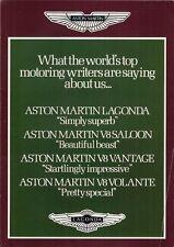 Aston Martin 1982-84 UK Market Foldout Sales Brochure V8 Vantage Volante Lagonda