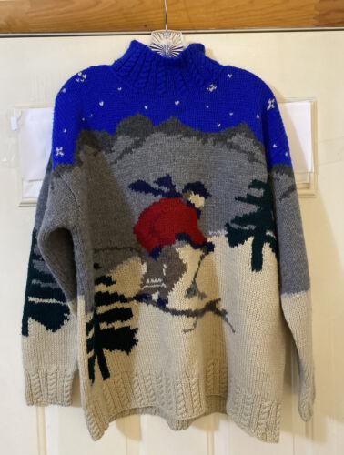 Vintage 1980s Ralph Lauren Hand Knit Wool Ski Scen