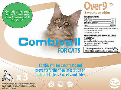 Combiva Cats Over 9 lbs Flea Drops, Same Advantage II Active Ingredients, 3 pack