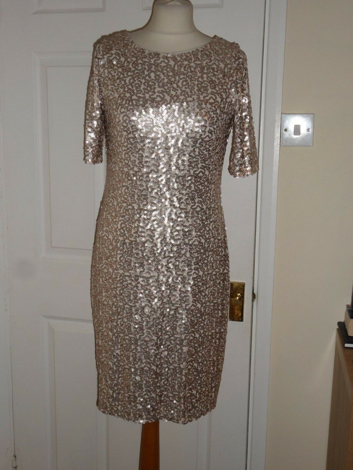 NEW M&S gold Sequin Embellished Dress Sz Wedding Party