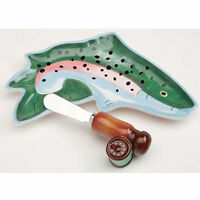 Big Sky Carvers Stoneware Jumping Rainbow Trout Plate With Spreader Fish