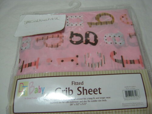 Pink  28x52x5.5 NEW DT Baby By David Textiles Crib Fitted Sheet Alphabet