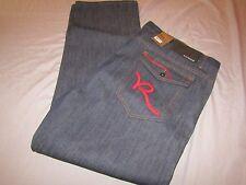 mens rocawear R flap raw indigo jeans 48x34 nwt $74 red script R
