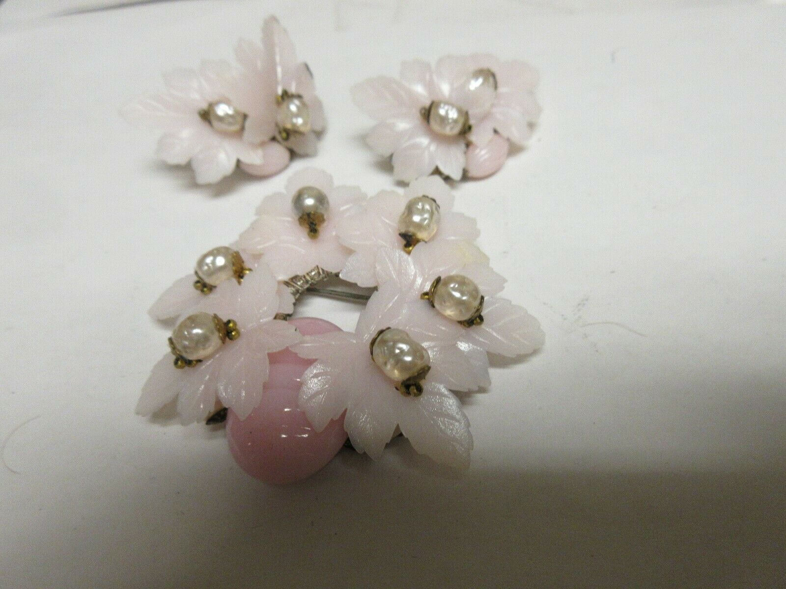 Costume Jewelry , Vintage , Earrings , Brooch , PInk Co