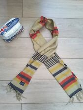 Joules Bracken Tea Stripe Scarf camel black red . Joules wool style scarf BNWT