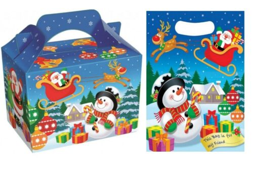 Christmas Cartoon Party Table Food Boxes /& Matching Christmas Loot Plastic Bags