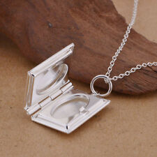 925 Sterling Silver Bible Book Shape Locket Necklace (Pendant + Chain) #001