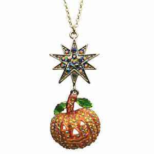 Kirks-Folly-Starry-Night-Pumpkin-Necklace-Halloween-Antique-Gold-finish