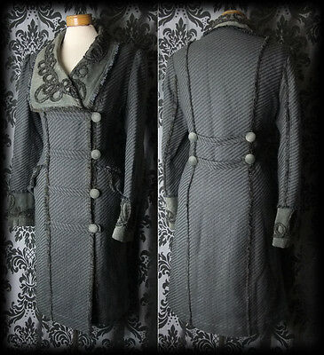 Gothic Dramatic Grey Detail HUNTRESS Velvet Collar Coat 12 14 Vintage Victorian