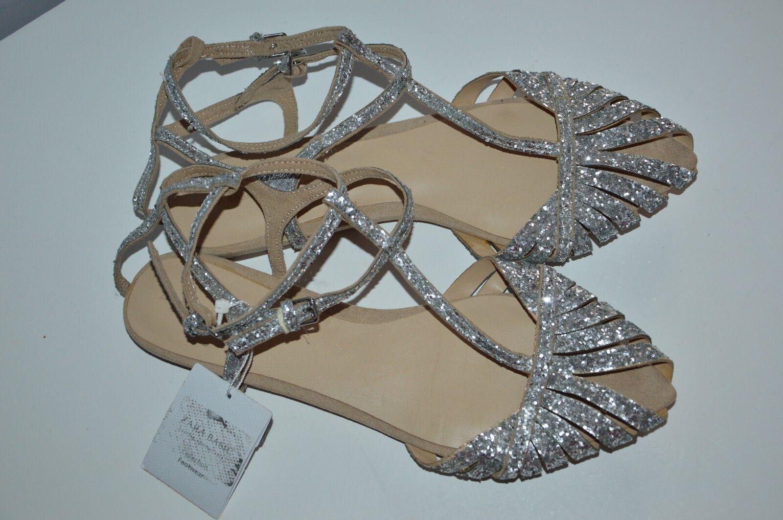 ZARA silver glitter sparkle straps pointy beach Sandales ankle straps sparkle peep toe 7.5 38 605322