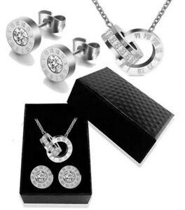 Schmuckset-Roemische-Ziffern-Bulgarien-Silber-Edelstahl-Luxus-Geschenk
