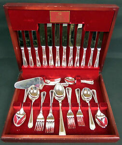 Image is loading ROYAL-ALBERT-51-PIECE-BOXED-SILVER-PLATED-CUTLERY- & ROYAL ALBERT 51 PIECE BOXED SILVER PLATED CUTLERY SET GOOD ...