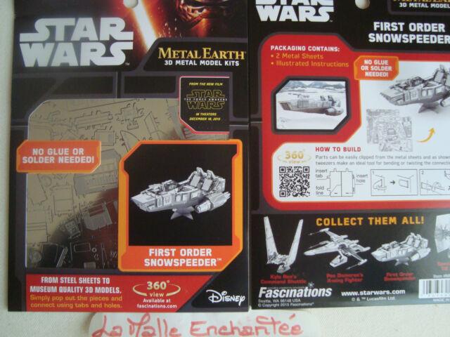 Metal Earth 3D Metal Kit 3 D to Mount First Order Snowspeeder Star Wars New