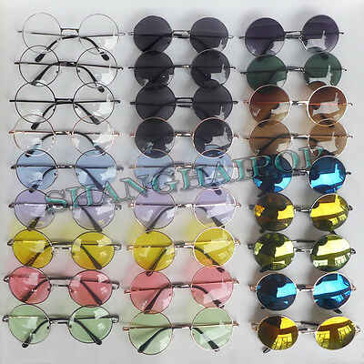 Mirror Clear Lens Round Sunglasses Glasses Shades Vintage Hippy Ozzy Lennon 60's